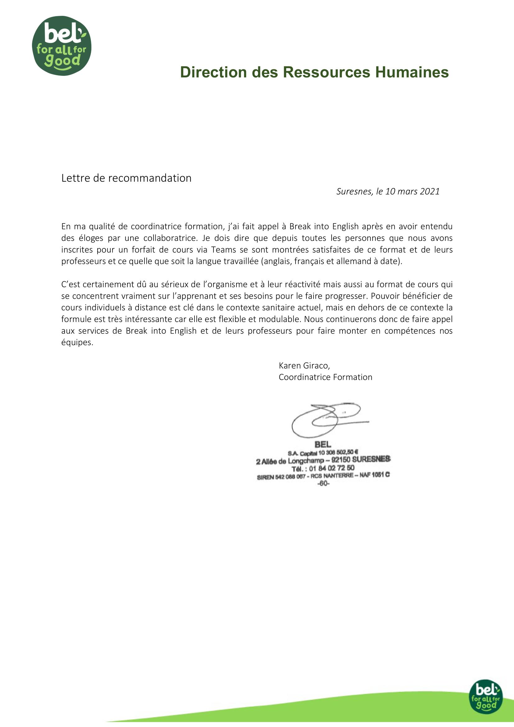 lettre de recommandation formation d'anglais BEL
