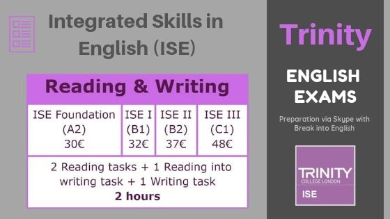 Trinity ISE Reading and Writing tasks